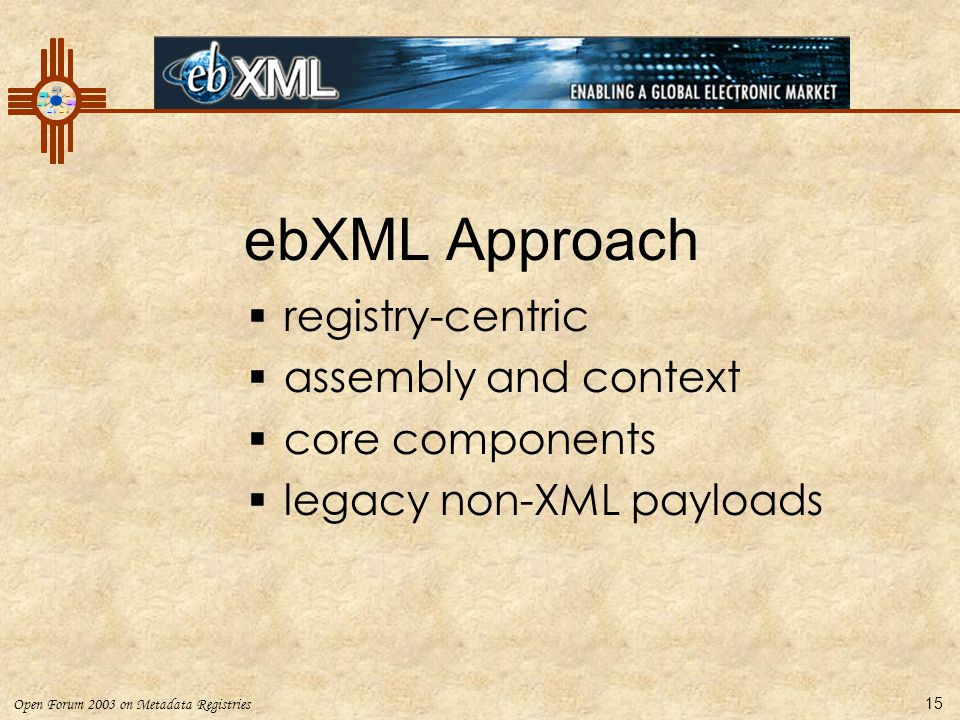 ebXML Approach registry-centric assembly and context core components