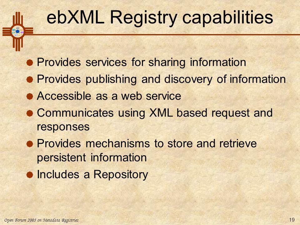 ebXML Registry capabilities