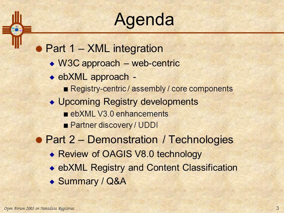 Agenda Part 1 – XML integration Part 2 – Demonstration / Technologies