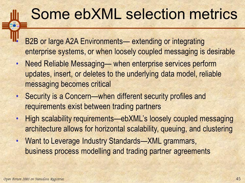 Some ebXML selection metrics