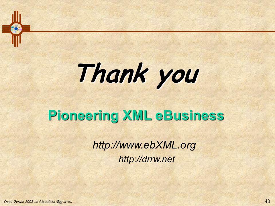 Pioneering XML eBusiness