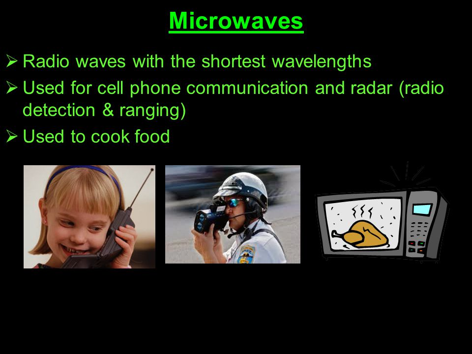 Microwaves Radio waves with the shortest wavelengths