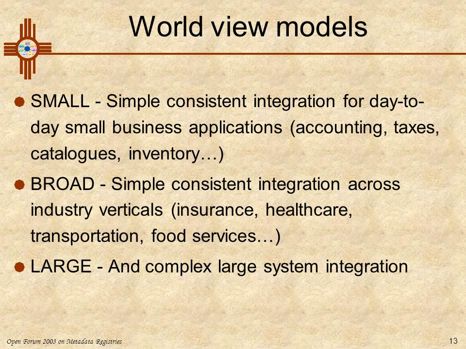 World view models SMALL - Simple consistent integration for day-to-day small business applications (accounting, taxes, catalogues, inventory…)