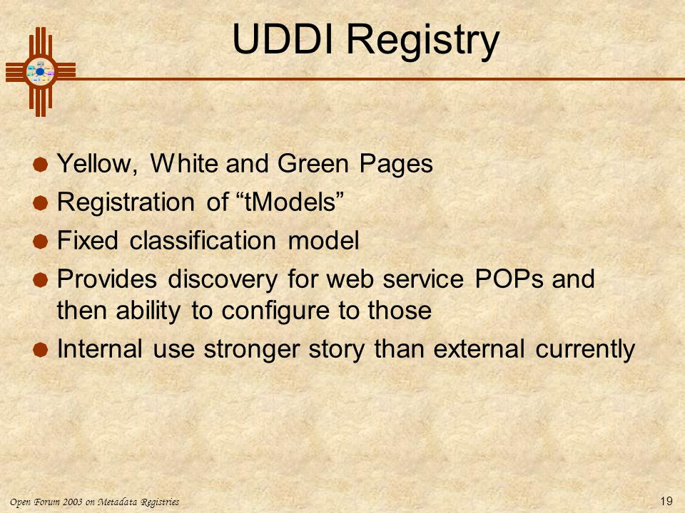 UDDI Registry Yellow, White and Green Pages Registration of tModels