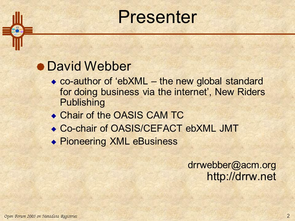 Presenter David Webber http://drrw.net