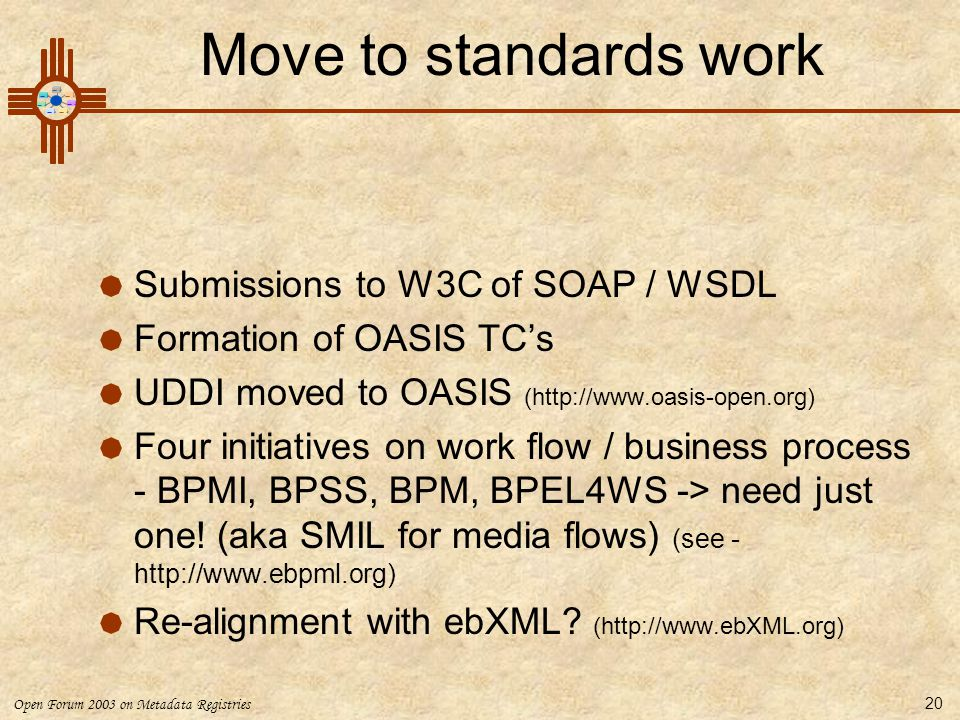 Move to standards work Submissions to W3C of SOAP / WSDL