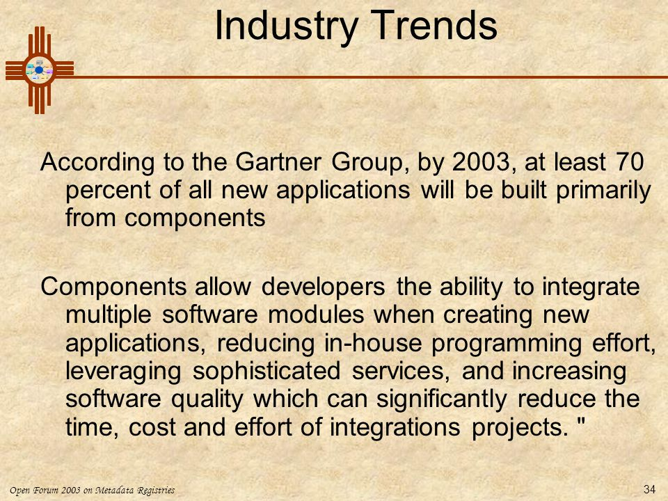 Industry Trends According to the Gartner Group, by 2003, at least 70 percent of all new applications will be built primarily from components.