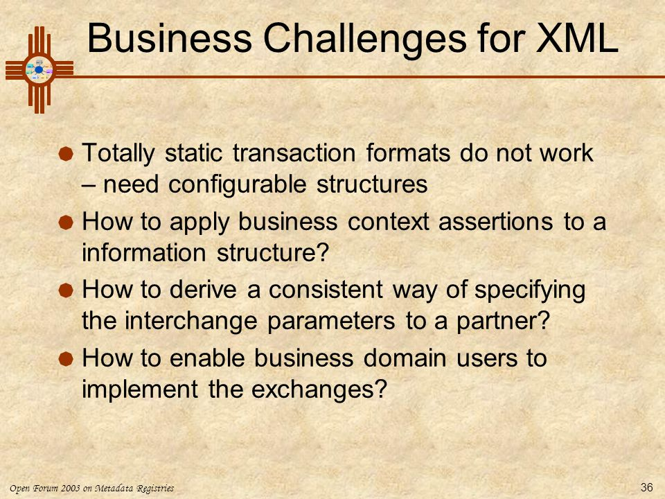 Business Challenges for XML