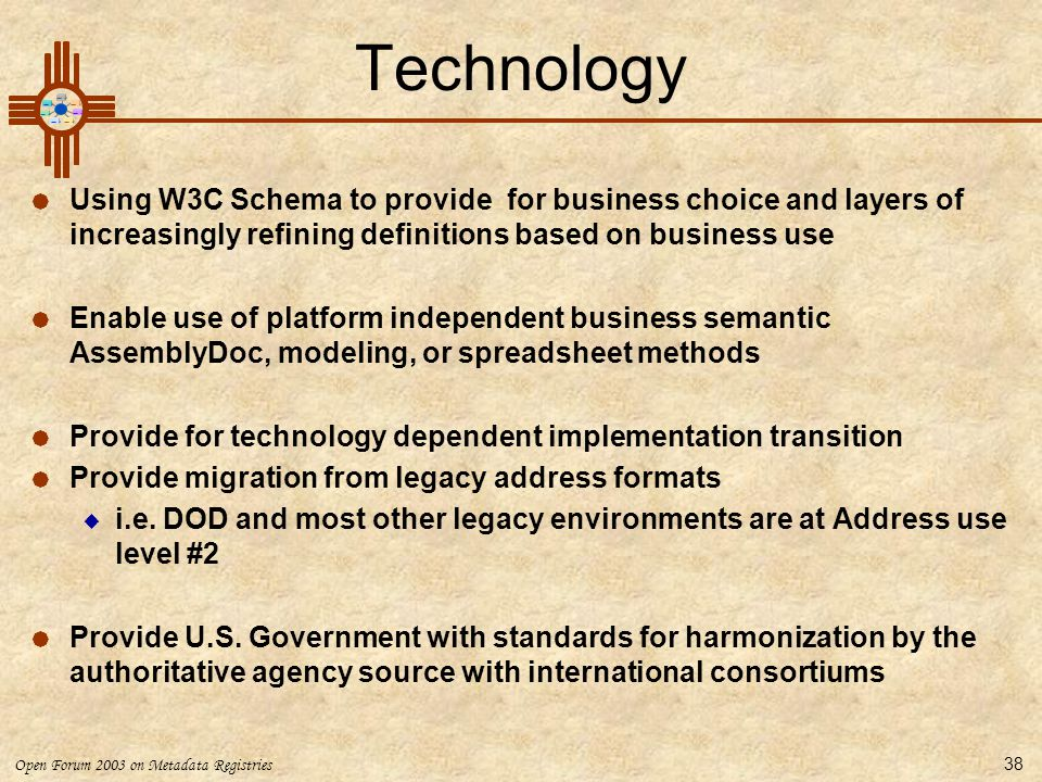 Technology Using W3C Schema to provide for business choice and layers of increasingly refining definitions based on business use.