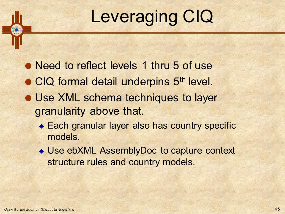 Leveraging CIQ Need to reflect levels 1 thru 5 of use