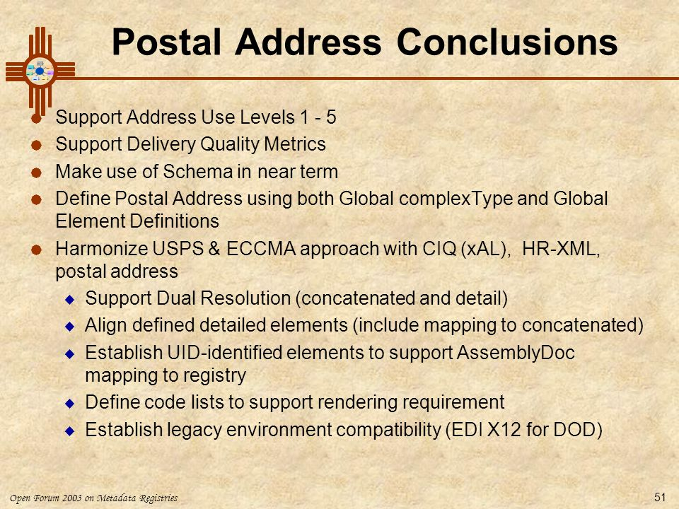 Postal Address Conclusions