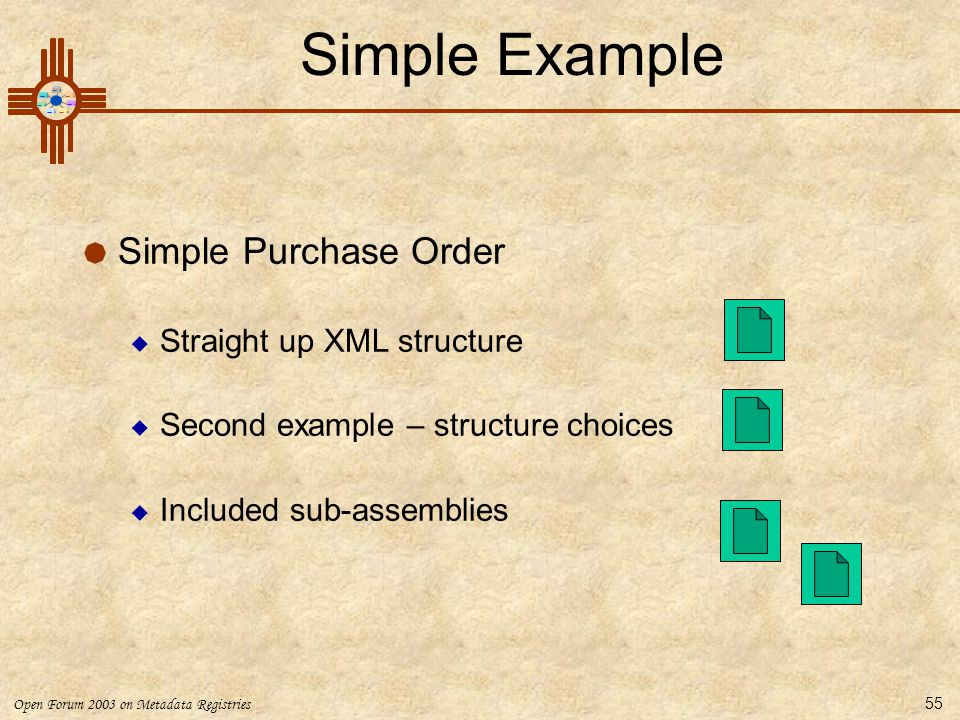Simple Example Simple Purchase Order Straight up XML structure