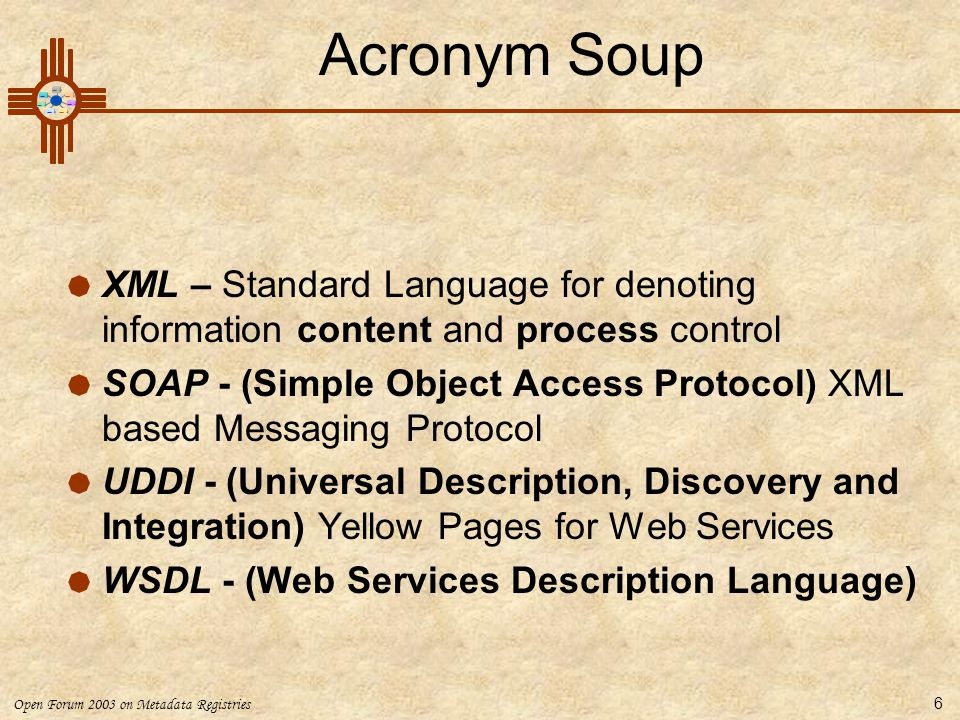 Acronym Soup XML – Standard Language for denoting information content and process control.