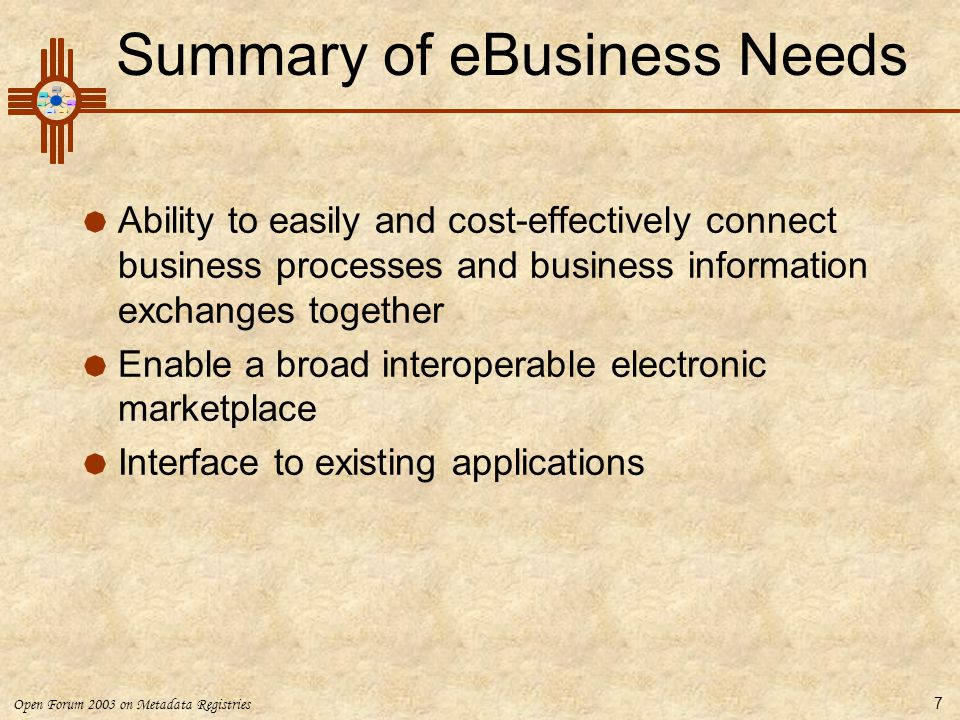 Summary of eBusiness Needs
