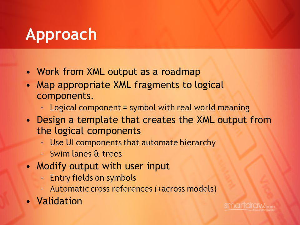 Approach Work from XML output as a roadmap