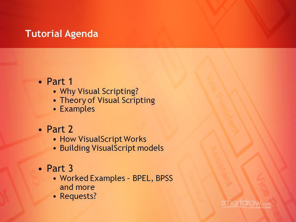 Tutorial Agenda Part 1 Part 2 Part 3 Why Visual Scripting