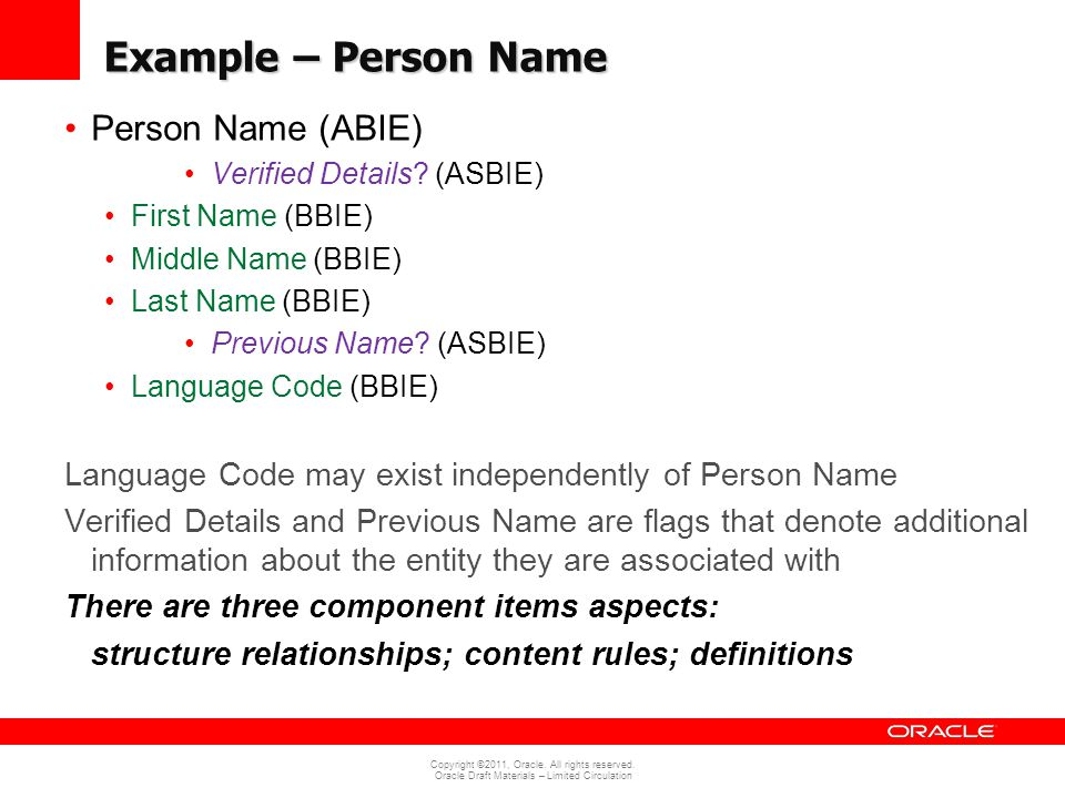 Example – Person Name Person Name (ABIE)
