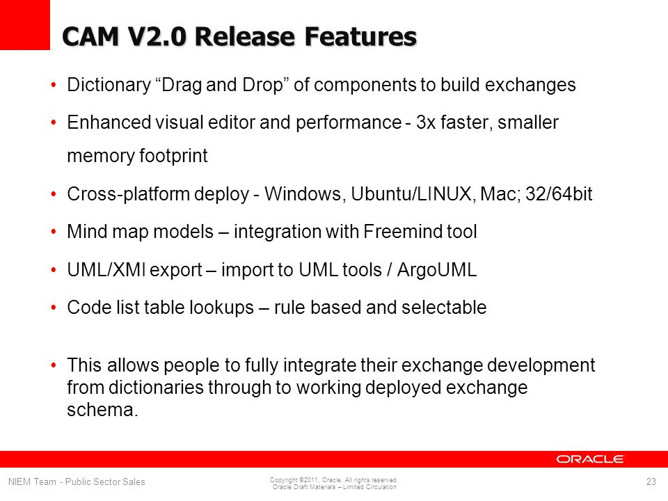 CAM V2.0 Release Features Dictionary Drag and Drop of components to build exchanges.