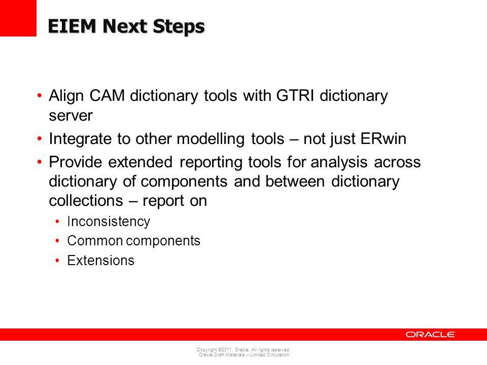EIEM Next Steps Align CAM dictionary tools with GTRI dictionary server