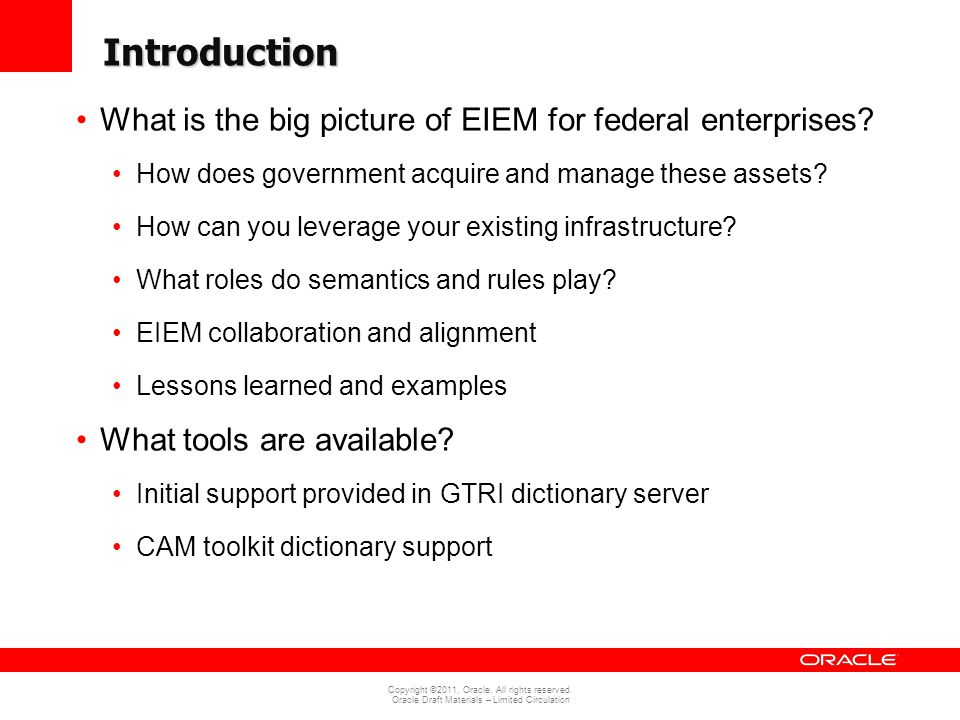 Introduction What is the big picture of EIEM for federal enterprises