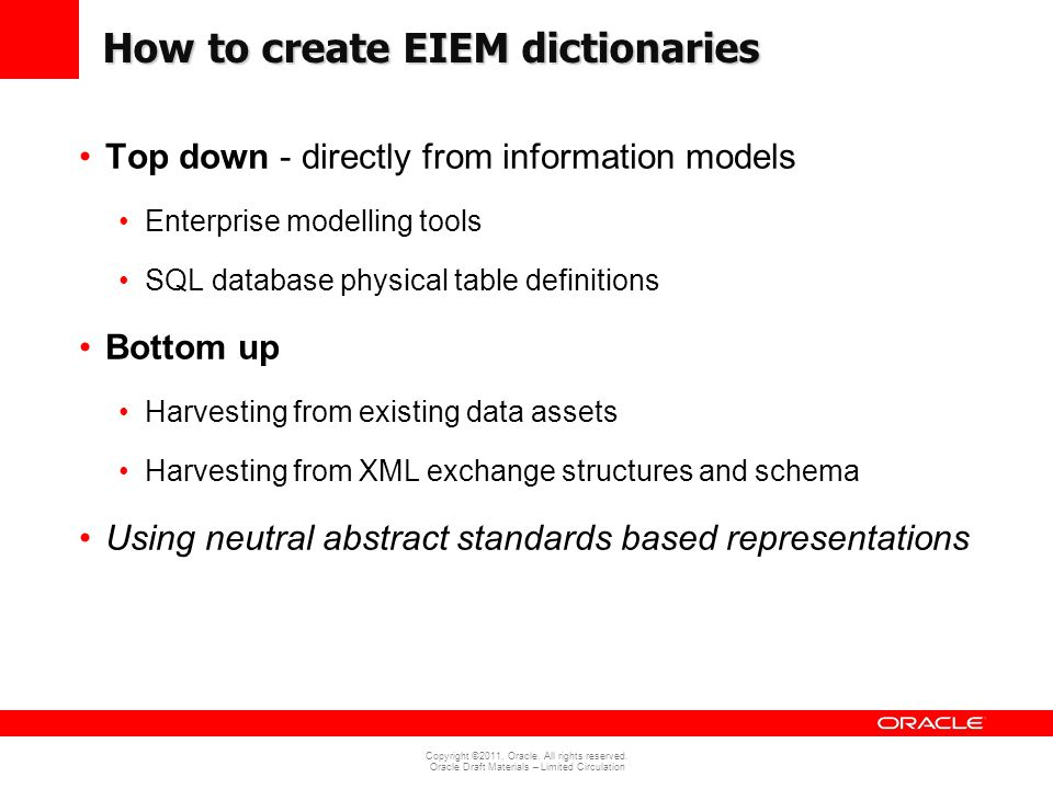 How to create EIEM dictionaries