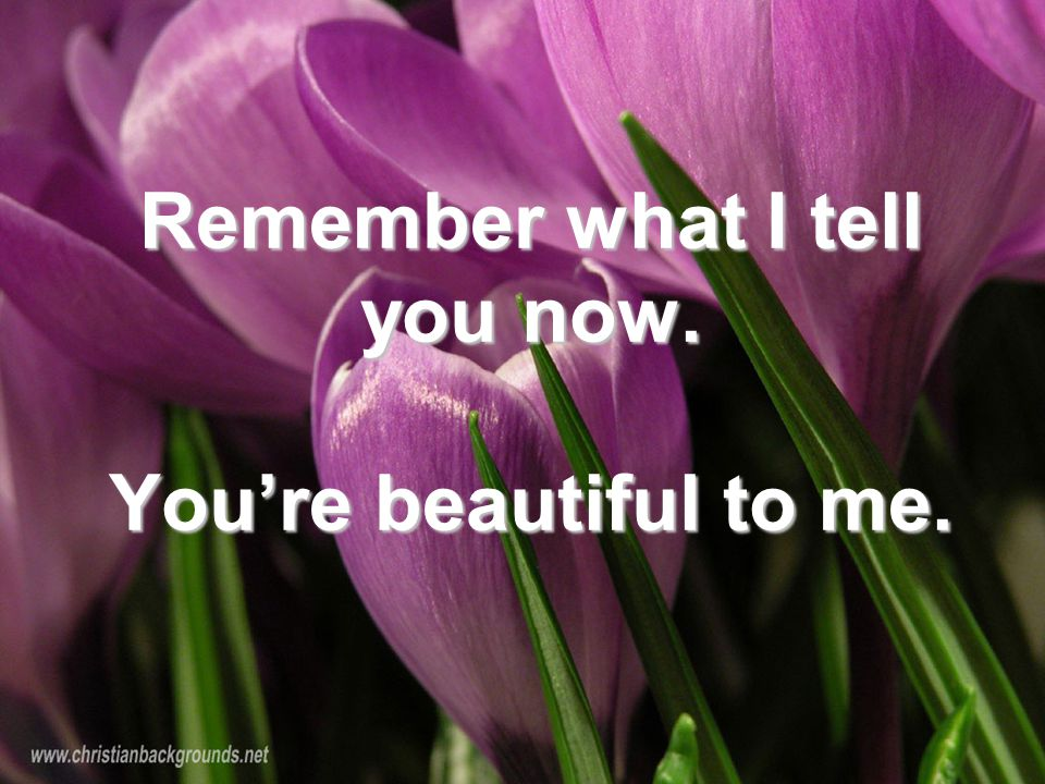 Remember what I tell you now. You're beautiful to me.