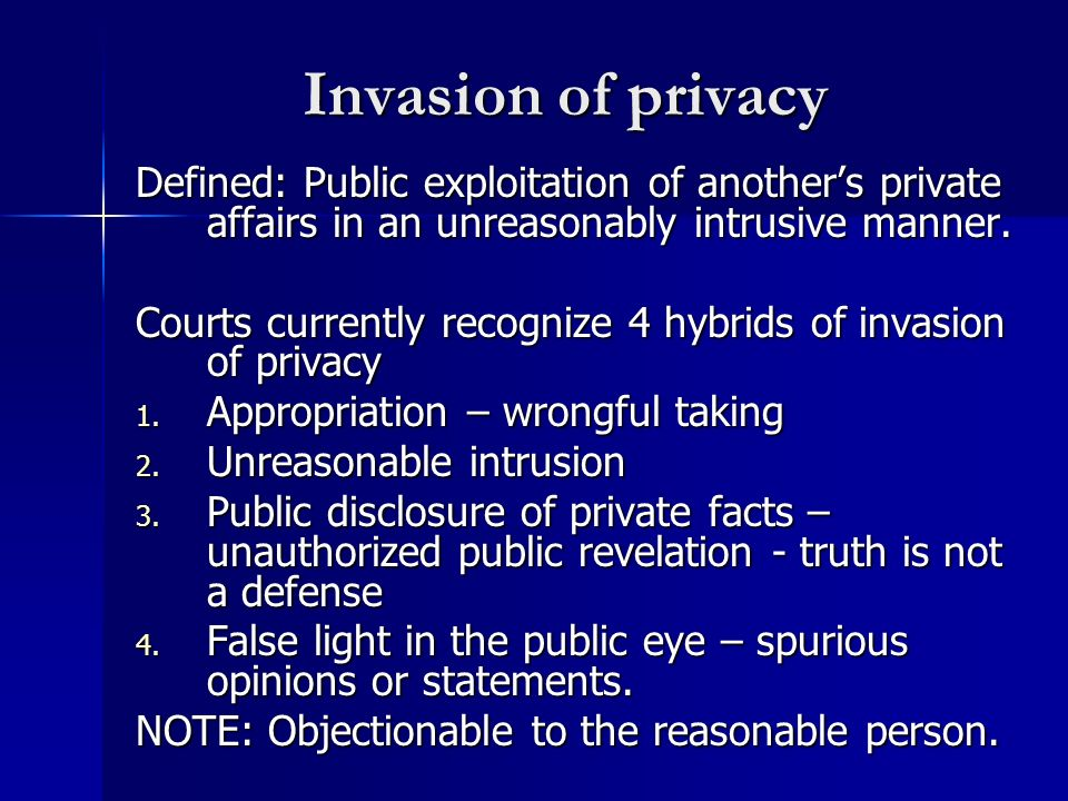 Invasion of privacy Defined: Public exploitation of another's private affairs in an unreasonably intrusive manner.