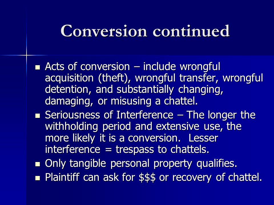 Conversion continued