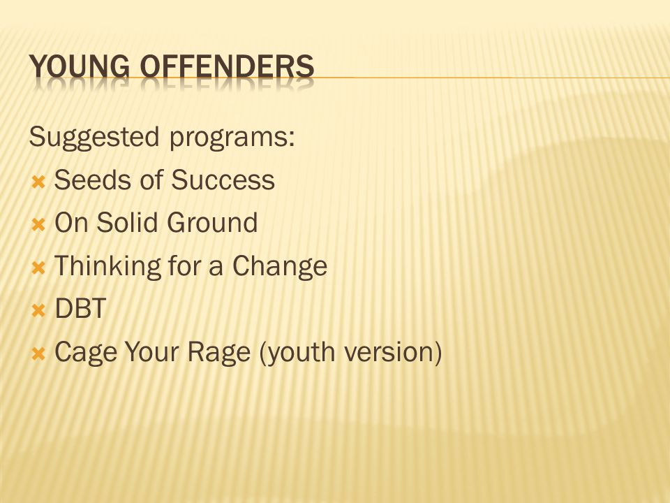Young offenders Suggested programs: Seeds of Success On Solid Ground