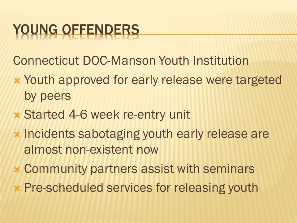 Young offenders Connecticut DOC-Manson Youth Institution