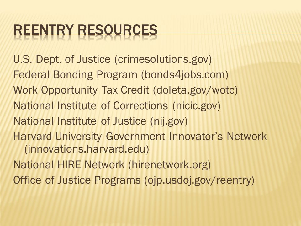 Reentry resources