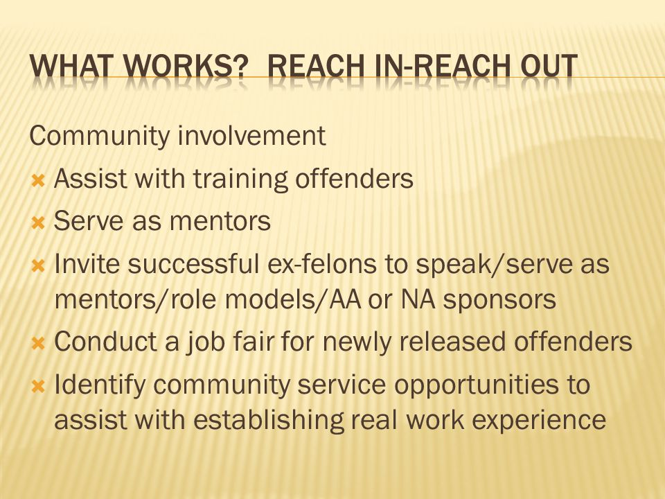 What works Reach in-reach out