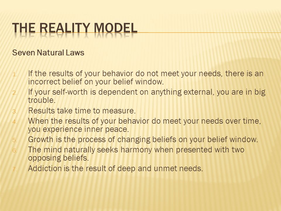 The reality model Seven Natural Laws