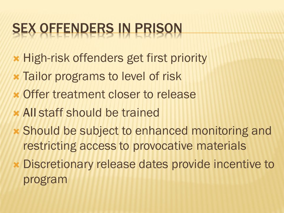 Sex offenders in prison