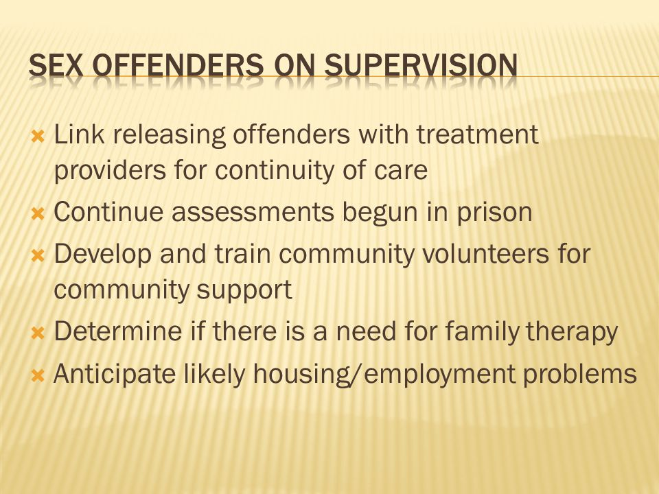 Sex offenders on supervision