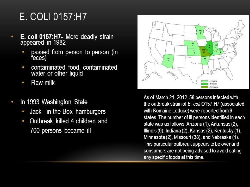 e. Coli 0157:h7 E. coli 0157:H7- More deadly strain appeared in 1982