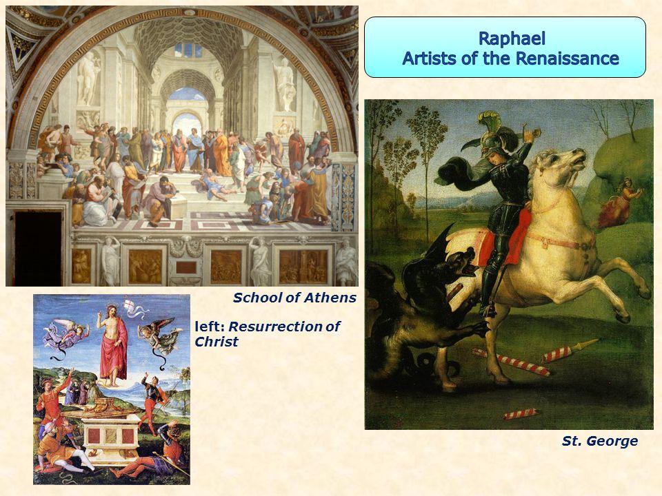School of Athens left: Resurrection of Christ St. George