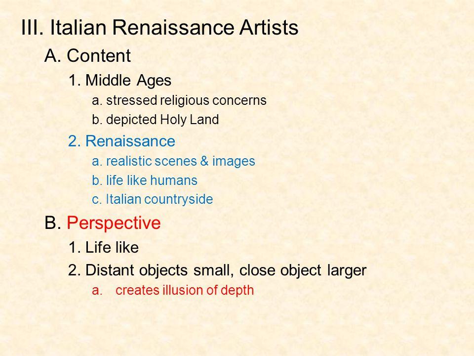 III. Italian Renaissance Artists