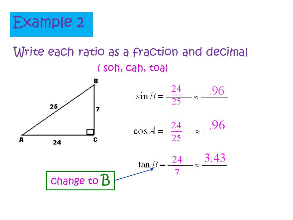 Example 2 Write each ratio as a fraction and decimal ( soh, cah, toa)