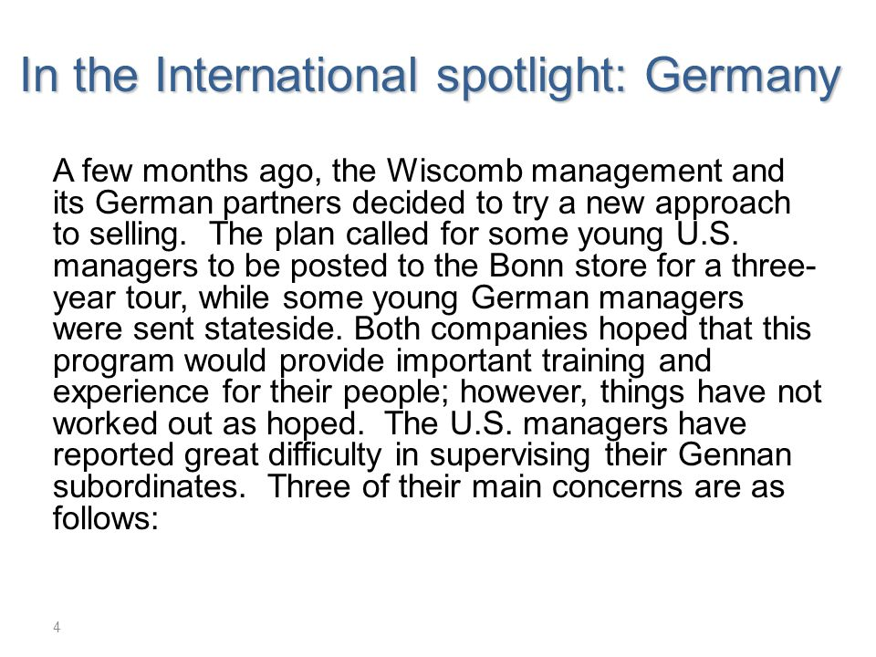 In the International spotlight: Germany