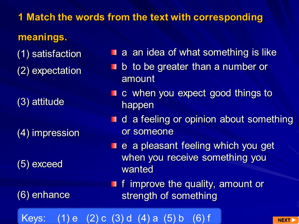 1 Match the words from the text with corresponding meanings.