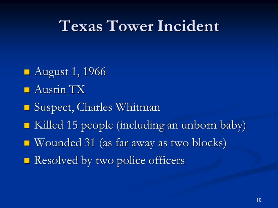 Texas Tower Incident August 1, 1966 Austin TX Suspect, Charles Whitman