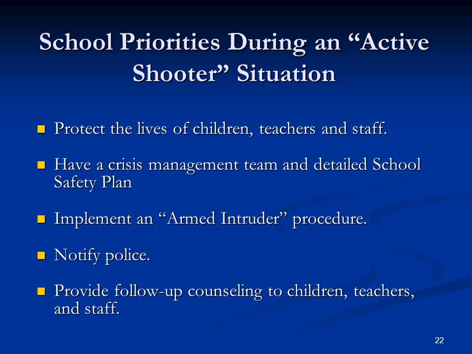 School Priorities During an Active Shooter Situation