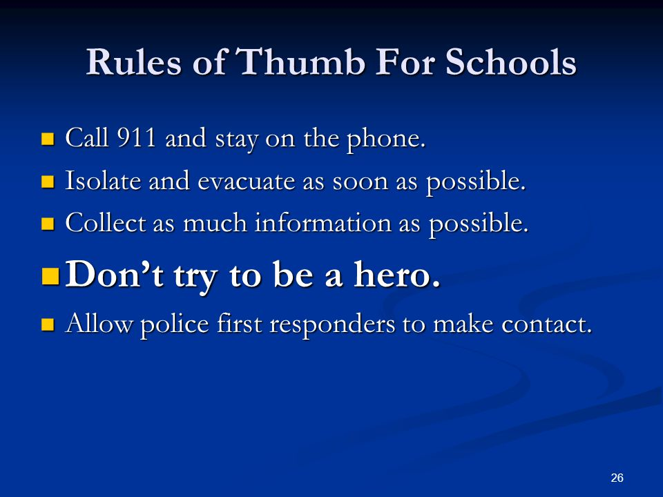 Rules of Thumb For Schools
