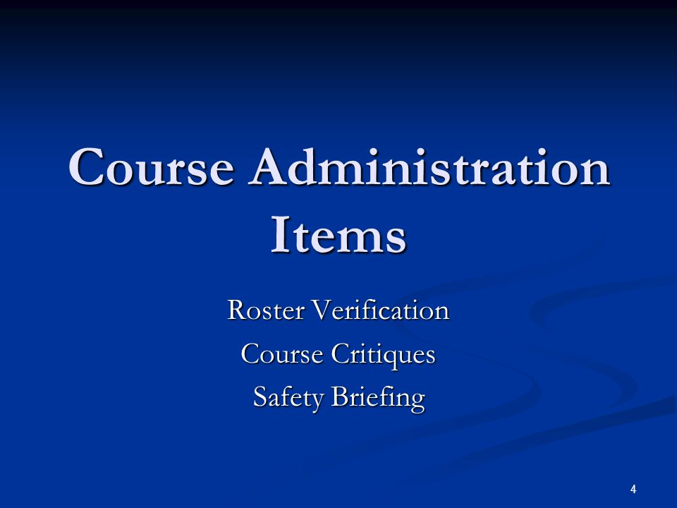 Course Administration Items
