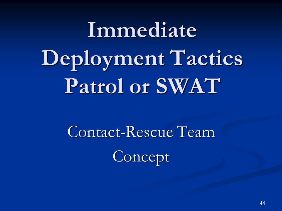 Immediate Deployment Tactics Patrol or SWAT