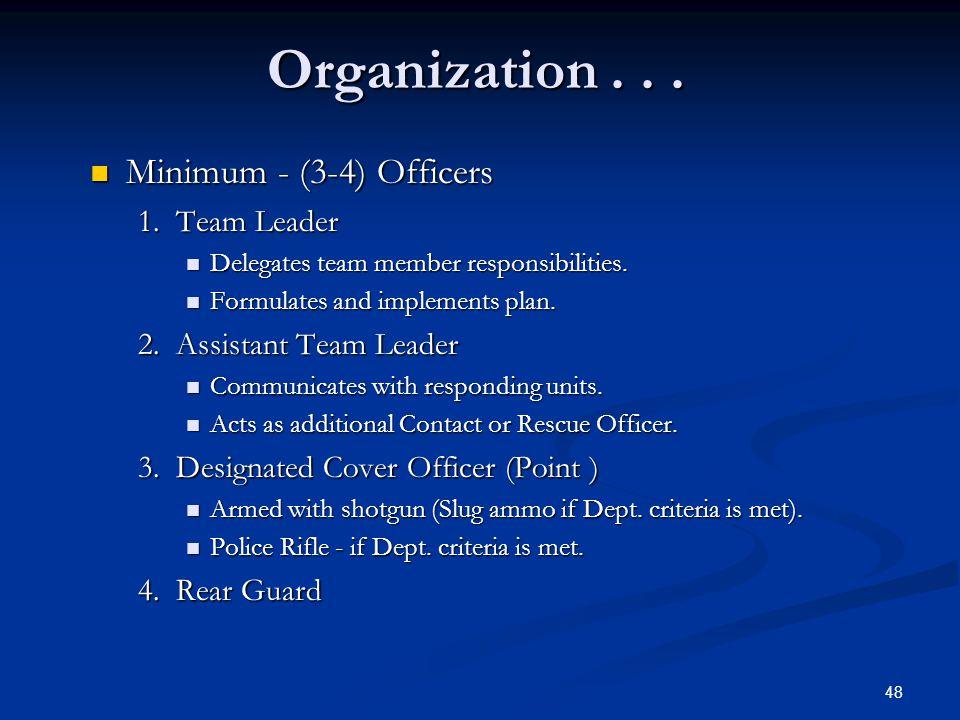 Organization . . . Minimum - (3-4) Officers 1. Team Leader