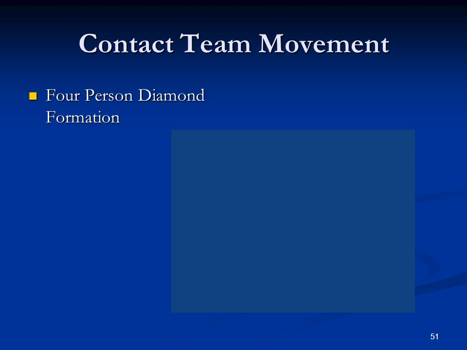 Contact Team Movement Four Person Diamond Formation