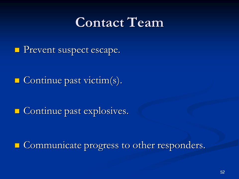 Contact Team Prevent suspect escape. Continue past victim(s).