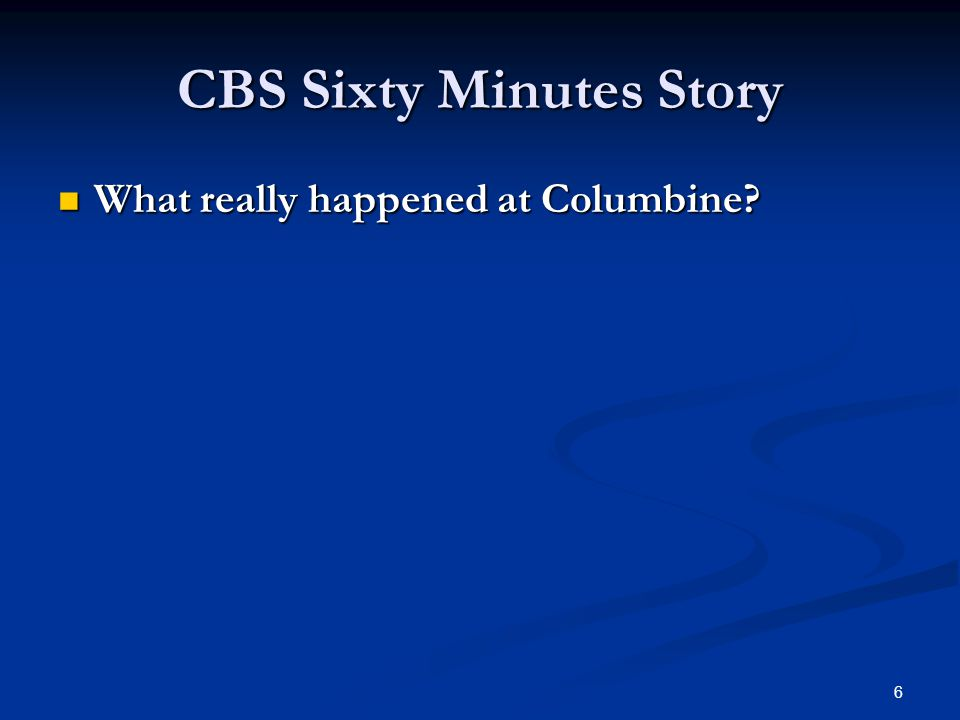CBS Sixty Minutes Story